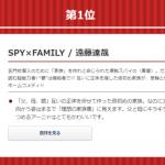 【朗報】スパイファミリーが、書店員が選ぶオススメコミックも取り三冠達成!!
