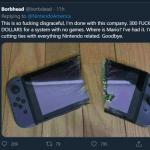 【画像】海外の任天堂信者、Switchを真っ二つにした画像を投稿してしまう